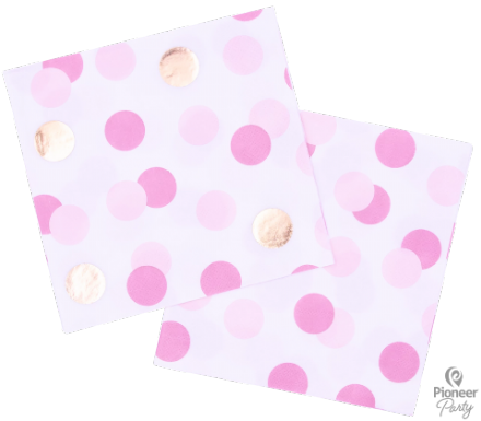 16 Pink & Gold Dots Paper Napkins 33cm/ 3ply